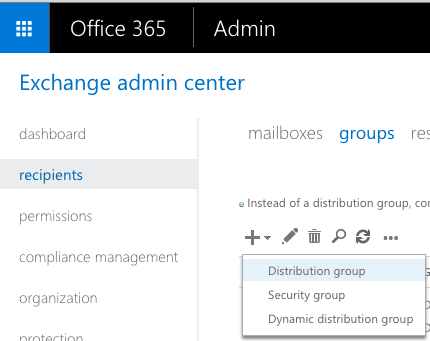 Office 365 Exchange Distro Group
